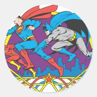 Batman + Superman + Flash Round Sticker