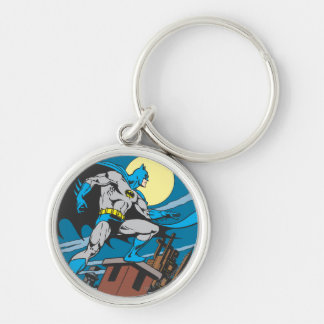 Batman Surveys City Silver-Colored Round Key Ring