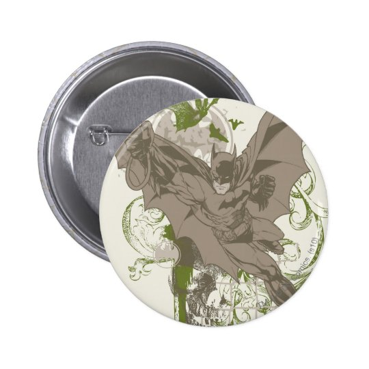 Batman Swinging Collage with Skull 6 Cm Round Badge