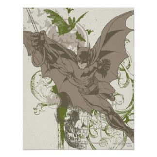 Batman Swinging Collage with Skull Posters