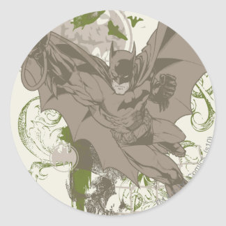 Batman Swinging Collage with Skull Round Sticker