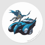 Batman swings over classic round sticker