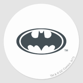 Batman Symbol | Black and White Logo Round Sticker