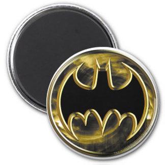 Batman Symbol   Gold Logo 6 Cm Round Magnet