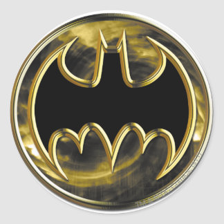 Batman Symbol | Gold Logo Round Sticker