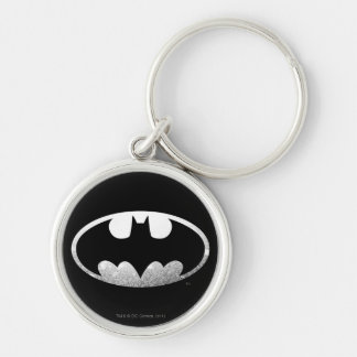 Batman Symbol   Grainy Logo Silver-Colored Round Key Ring