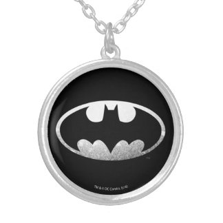 Batman Symbol | Grainy Logo Silver Plated Necklace