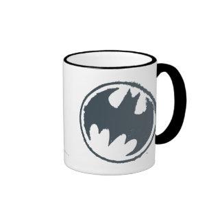 Batman Symbol | Gray Grunge Logo Ringer Mug