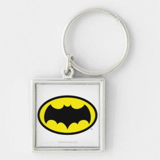 Batman Symbol Silver-Colored Square Key Ring