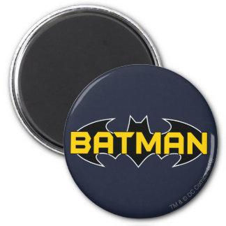 Batman Symbol   Name Yellow & Black Logo 6 Cm Round Magnet