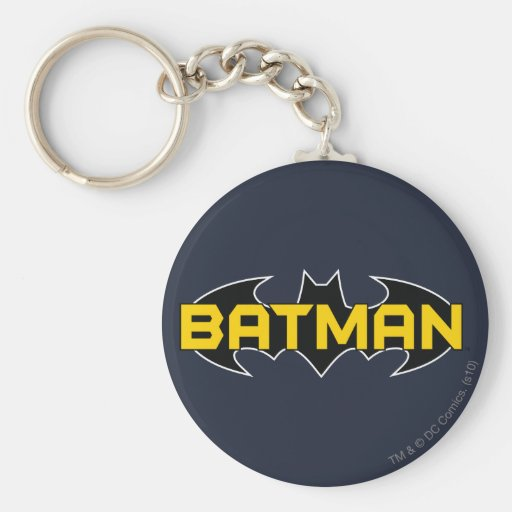 Batman Symbol | Name Yellow & Black Logo Basic Round Button Key Ring