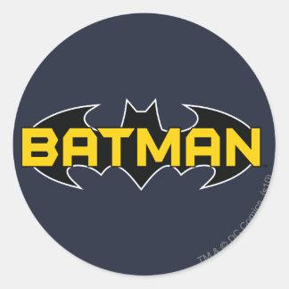 Batman Symbol   Name Yellow & Black Logo Round Sticker