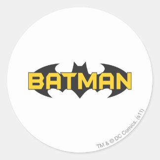 Batman Symbol | Name Yellow & Black Logo Round Sticker