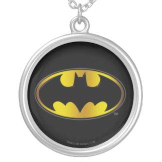 Batman Symbol | Oval Gradient Logo Round Pendant Necklace