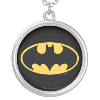 Batman Symbol | Oval Logo Silver Plated Necklace