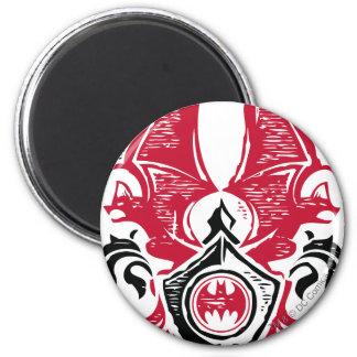 Batman Symbol | Red Black Bat Stamp Crest Logo 6 Cm Round Magnet