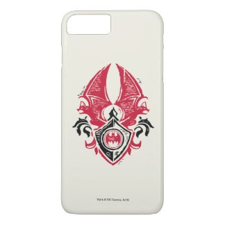 Batman Symbol | Red Black Bat Stamp Crest Logo iPhone 8 Plus/7 Plus Case