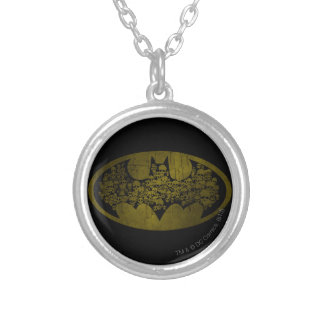 Batman Symbol   Skulls in Bat Logo Round Pendant Necklace