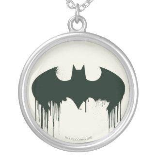 Batman Symbol   Spraypaint Logo Round Pendant Necklace