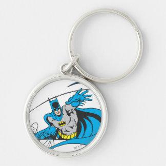 Batman Throws Batarang 3 Silver-Colored Round Key Ring