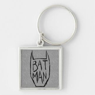 Batman Type in Head Silver-Colored Square Key Ring