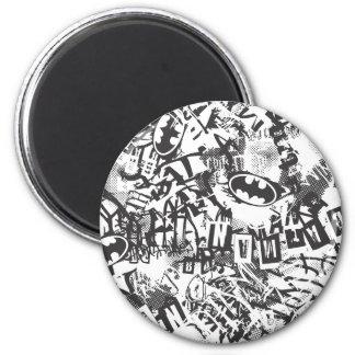 Batman Urban Legends - Grunge Logo Pattern 2 BW 6 Cm Round Magnet