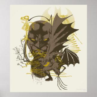 Batman Vintage Grunge Portrait Poster