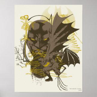 Batman Vintage Grunge Portrait Print