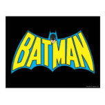 Batman | Vintage Yellow Blue Logo Postcard