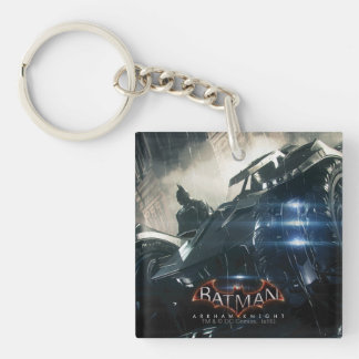 Batman With Batmobile In The Rain Double-Sided Square Acrylic Key Ring