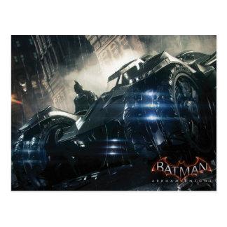 Batman With Batmobile In The Rain Postcard