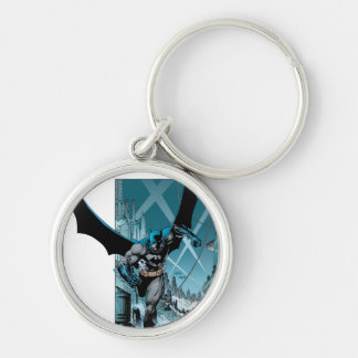Batman with city background Silver-Colored round key ring
