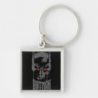 Batman With Mantra Silver-Colored Square Key Ring