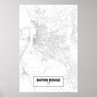 Baton Rouge, Louisiana (black on white) Poster