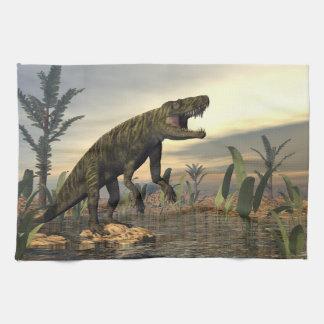 Batrachotomus dinosaur -3D render Tea Towel