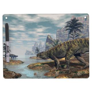 Batrachotomus dinosaurs -3D render Dry Erase Board With Key Ring Holder