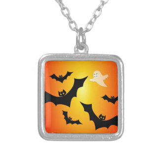 Bats and a Ghost Silver Plated Necklace