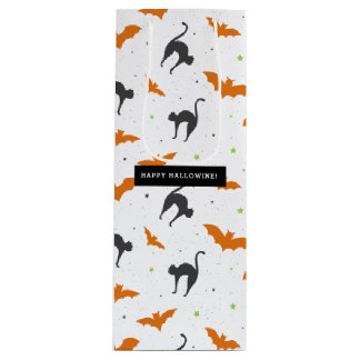 Bats and Cats Happy Hallowine Wine Gift Bag