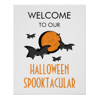 Bats and Moon Halloween Party Welcome Sign Poster