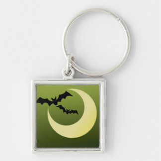 Bats and Moon on Creepy Green Backdrop Key Chains