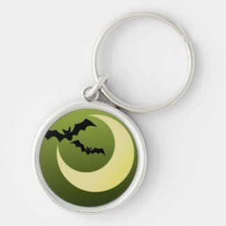 Bats and Moon on Creepy Green Backdrop Silver-Colored Round Key Ring