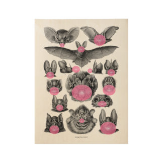 Bats Blowing Bubbles Gothic Absurd Wood Poster