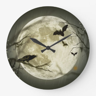 Bats By the Moon on Halloween Large Clock