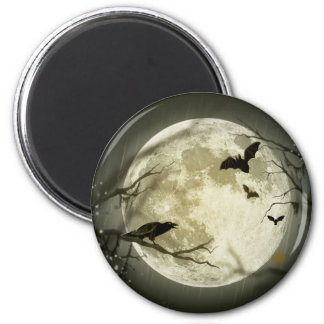 Bats fly Crow sits in Front of Halloween Full Moon 6 Cm Round Magnet