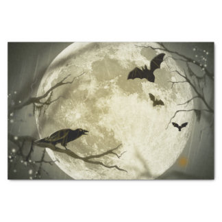 Bats fly Crow sits in Front of Halloween Full Moon Tissue Paper