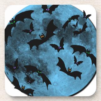 Bats Flying against Moon Halloween blue black Drink Coaster