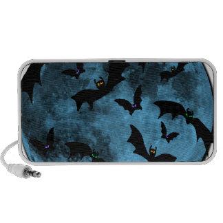Bats Flying against Moon Halloween blue black Mp3 Speaker