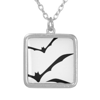 Bats Flying Silver Plated Necklace