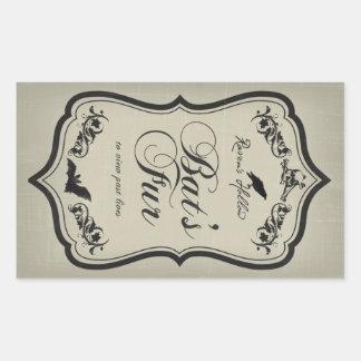 Bat's Fur Halloween Jar Sticker Label