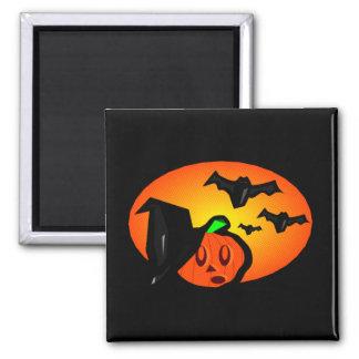 Bats & Pumpkin Jack Orange Halftone Logo Square Magnet